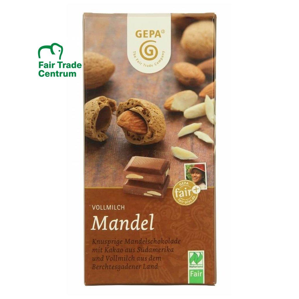 Fair trade bio mléčná čokoláda Gepa s celými mandlemi