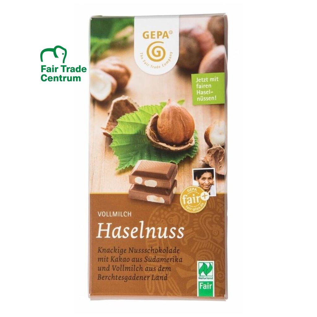 Fair trade bio mléčná čokoláda Gepa s celými lískovými oříšky