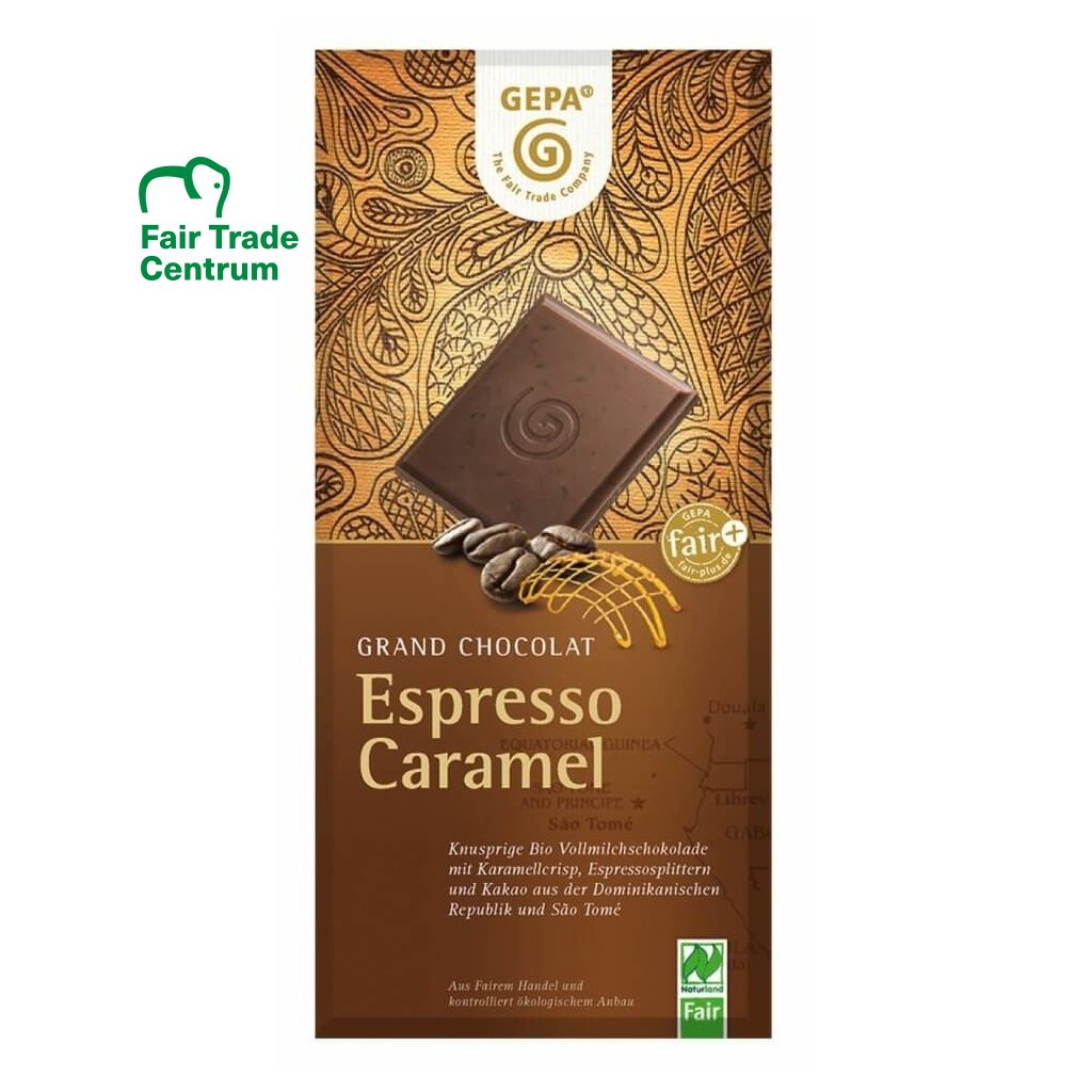 Fair trade bio mléčná čokoláda Espresso karamel, 100 g