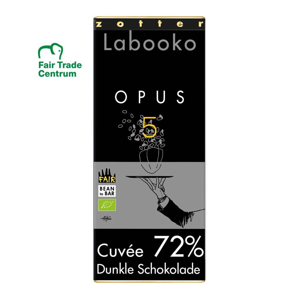 Fair trade bio hořká čokoláda Zotter Opus 5 Cuvée 72 %