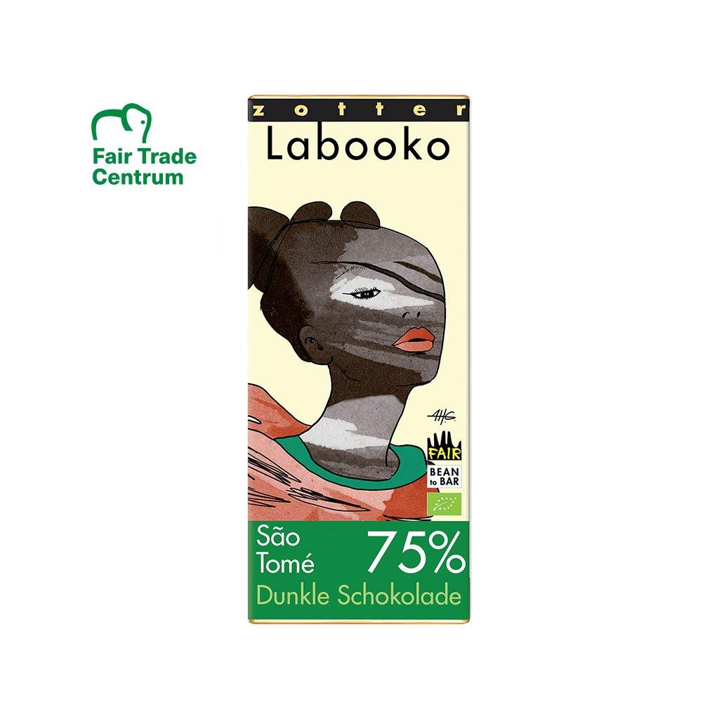 Fair trade bio hořká čokoláda Zotter Svatý Tomáš 75 %
