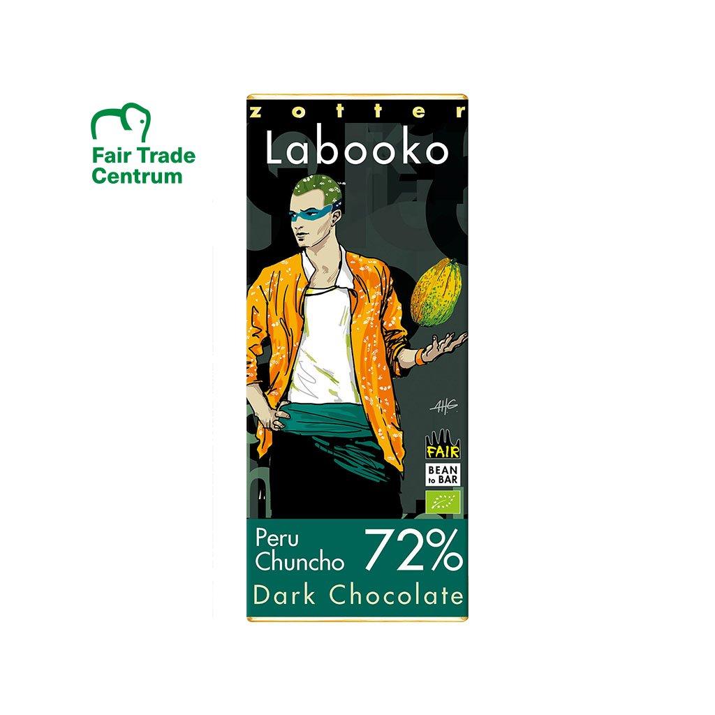 Fair trade bio hořká čokoláda Zotter Peru Chuncho 72 % kakaa
