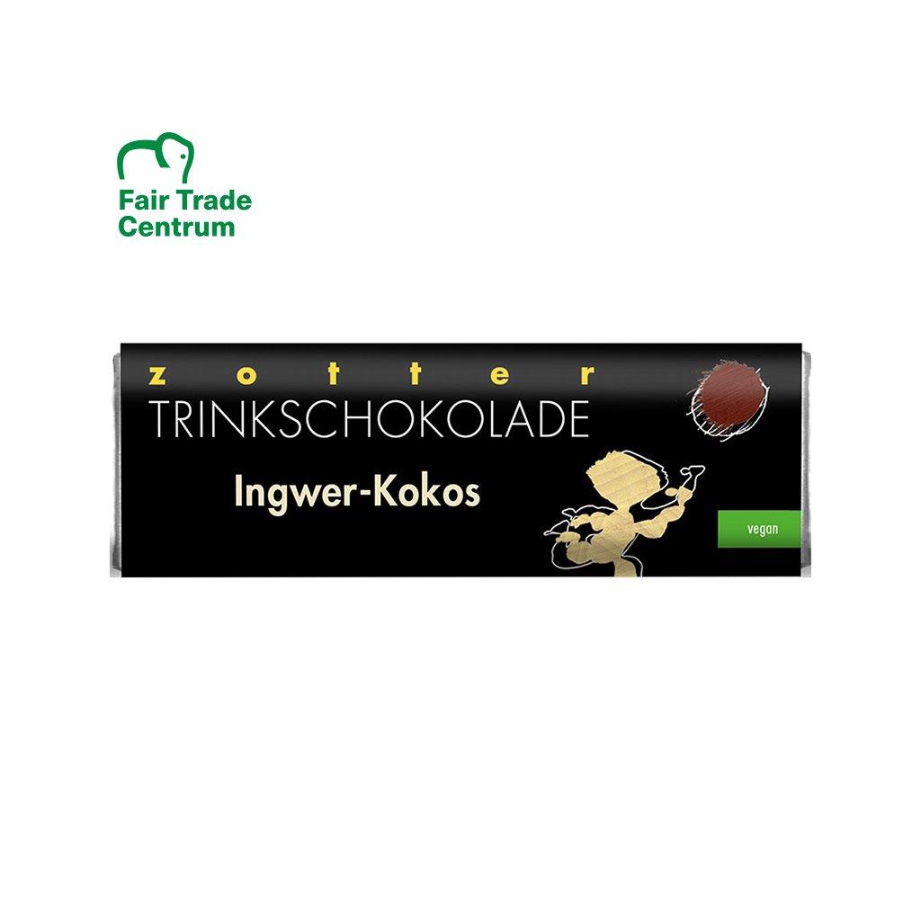 Fair trade bio horká veganská čokoláda Zotter Zázvor kokos