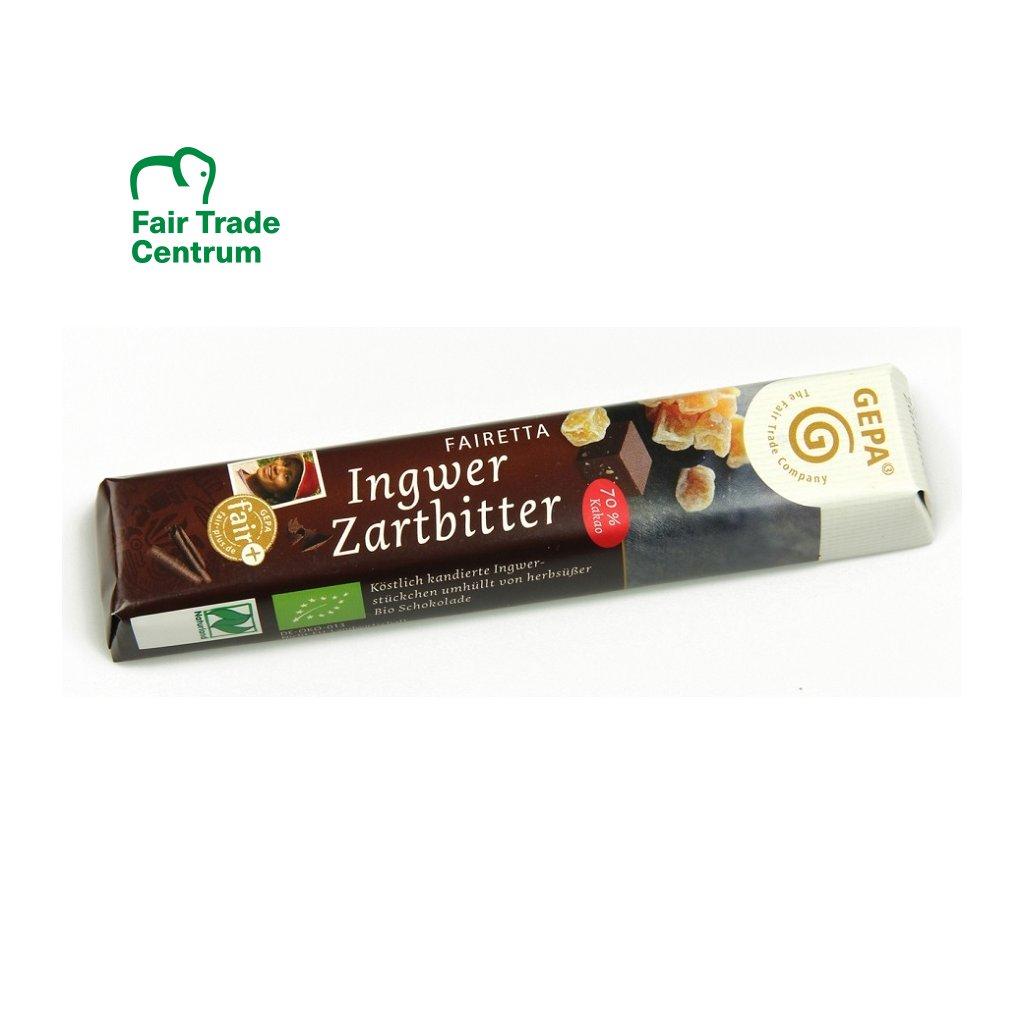 Fair Trade bio hořká čokoládová tyčinka se zázvorem