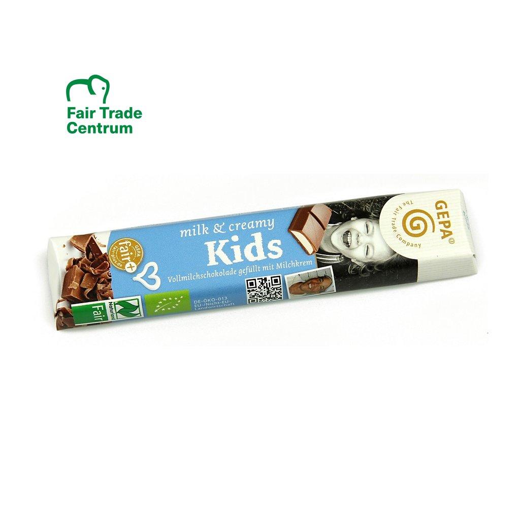 Fair Trade mléčná bio čokoládová tyčinka s mléčným krémem pro děti