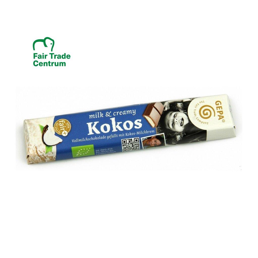 Fair Trade bio mléčná čokoládová tyčinka s kokosovým krémem