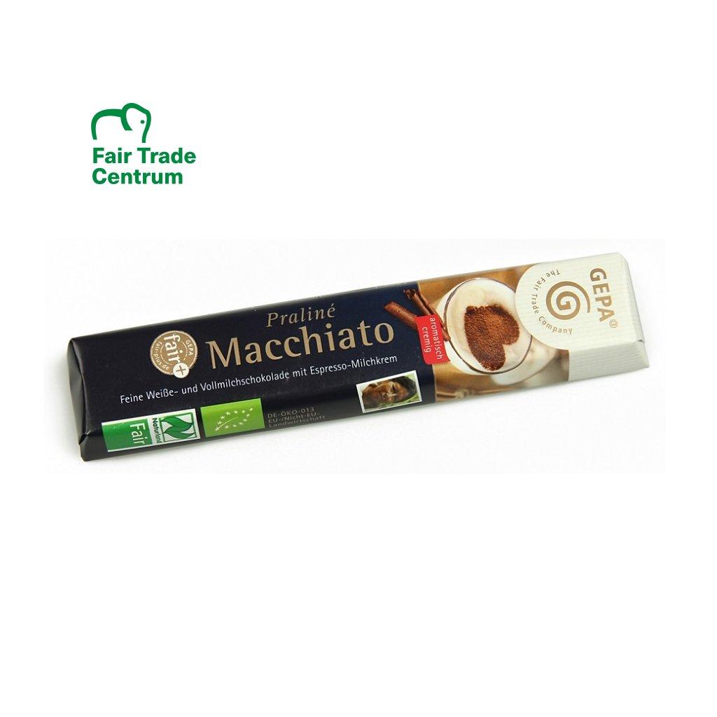 Fair Trade bio čokoládová pralinková tyčinka s mléčným krémem macchiato