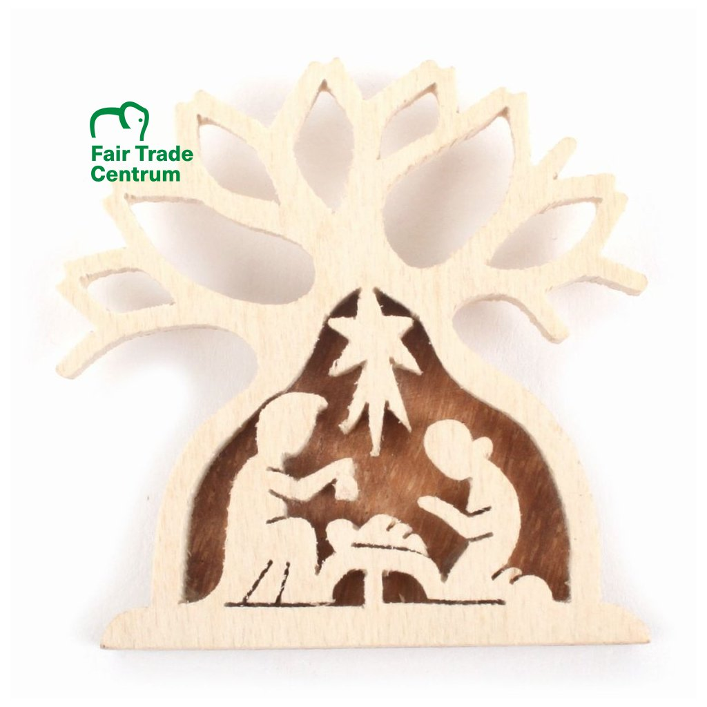 Fair trade ručně vyřezaný betlém z baobabu z palisandru z Madagaskaru