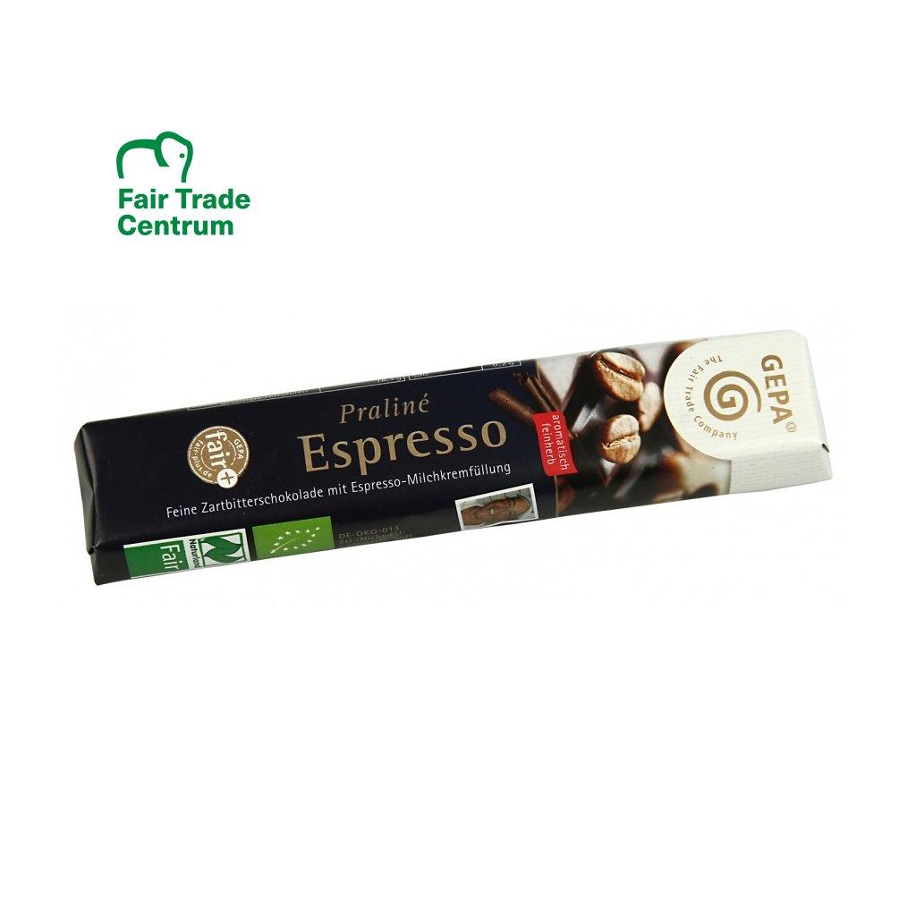 Fair Trade bio hořká pralinková tyčinka s mléčným krémem espresso