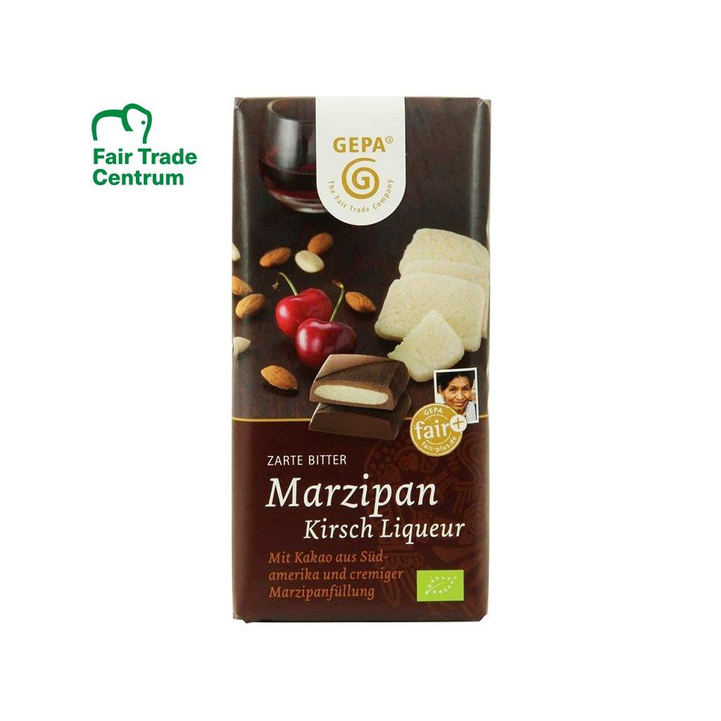 Fair trade bio hořká čokoláda s marcipánem a třešňovým likérem