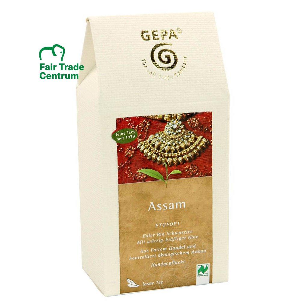 Fair trade bio černý čaj Assam sypaný v krabičce z ručně dělaného papíru