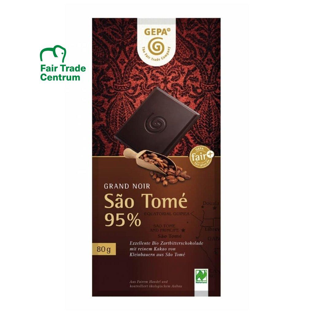 Fair trade bio hořká čokoláda s 95 % kakaa Sao Tomé, 80 g