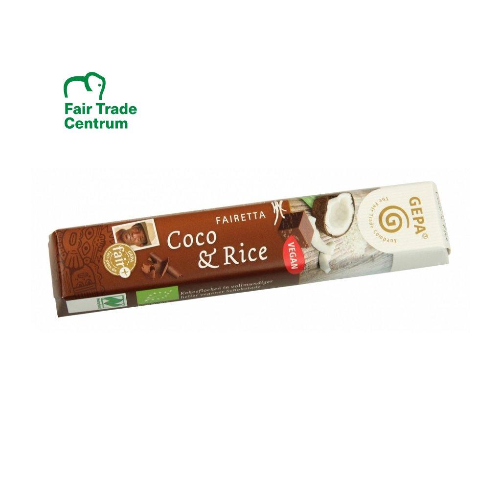 Fair Trade bio čokoládová tyčinka s rýžovým mlékem a kokosem