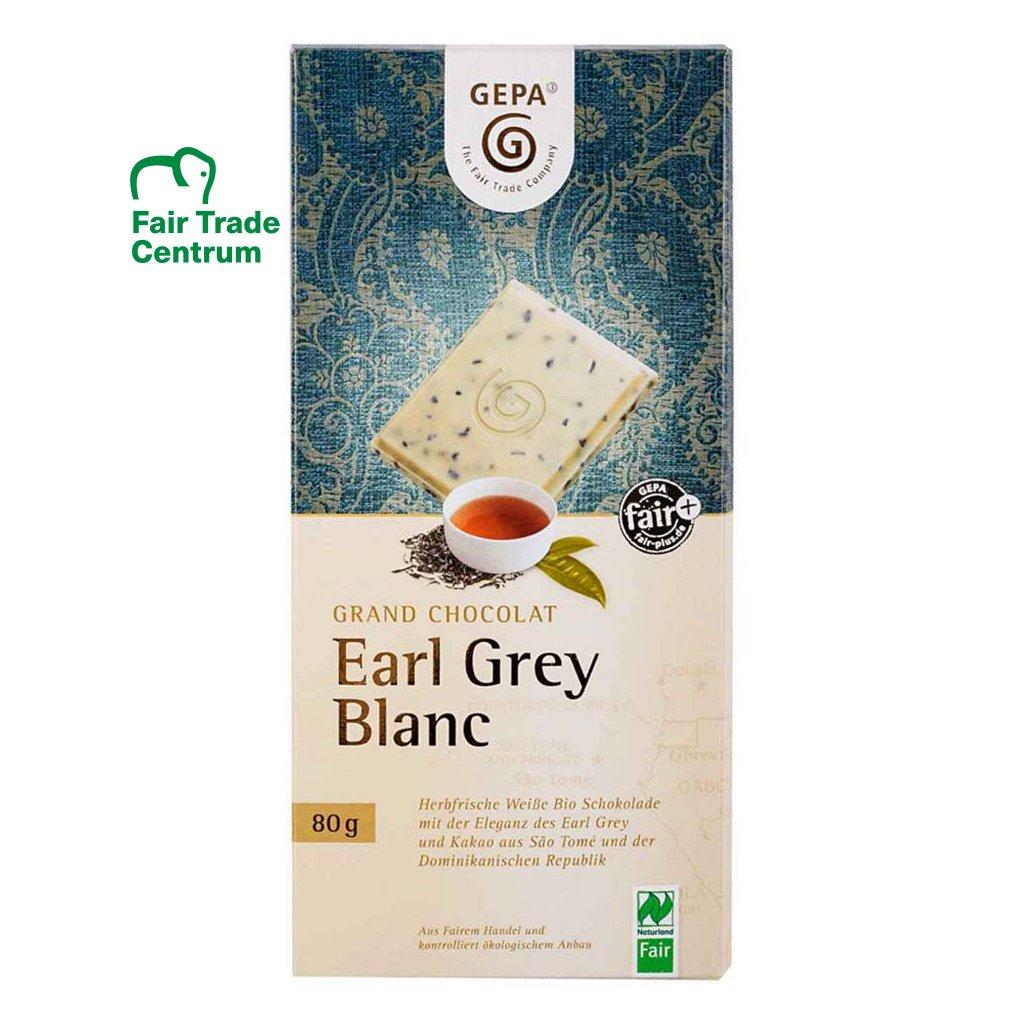 Fair trade bio bílá čokoláda s černým čajem Earl Grey
