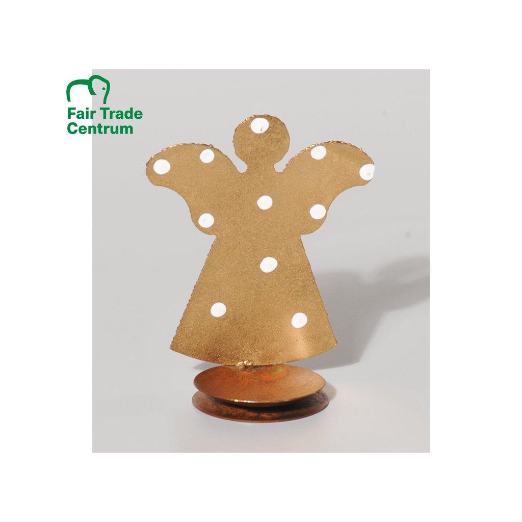 Fair trade zlatý andělíček na čajovou svíčku z Kolumbie