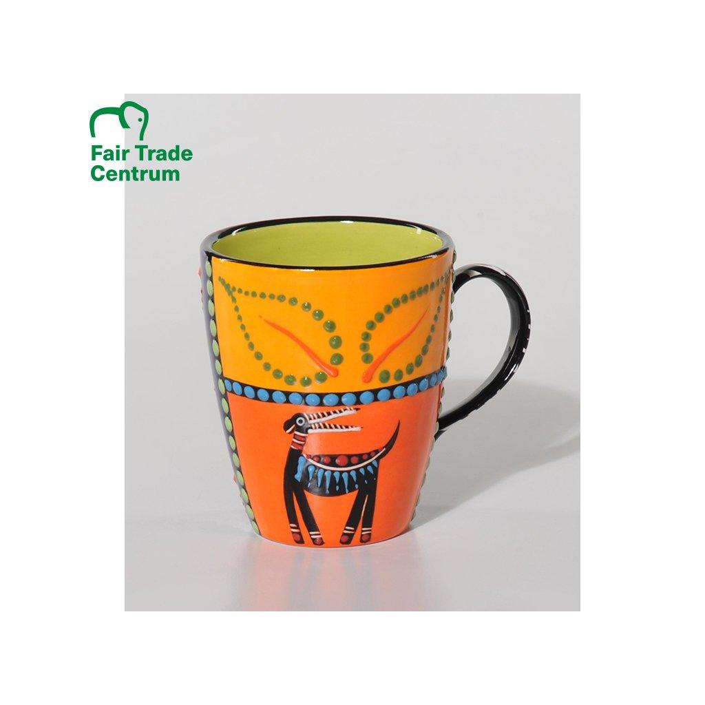 Fair trade ručně dělaný keramický hrnek Abeni s antilopou z Jižní Afriky