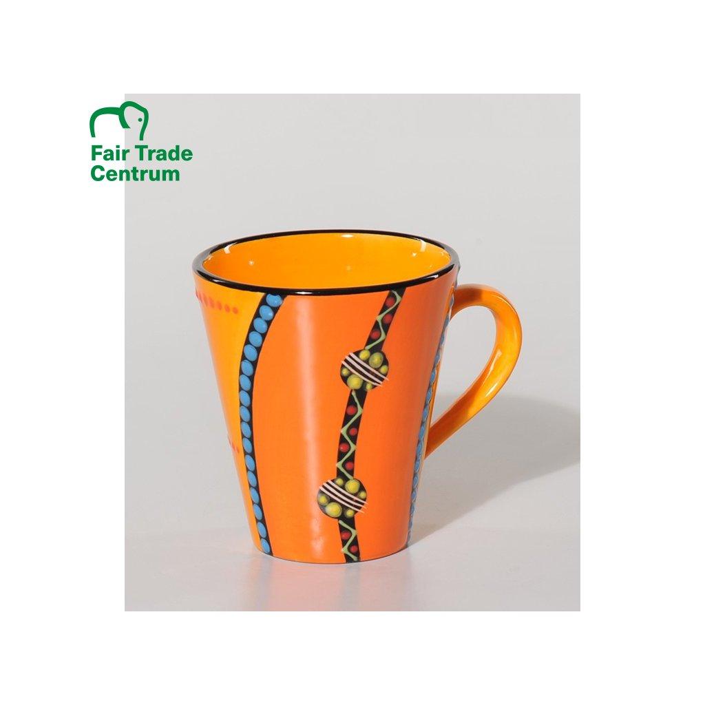 Fair trade ručně dělaný keramický hrnek se zlatou girlandou z Jižní Afriky