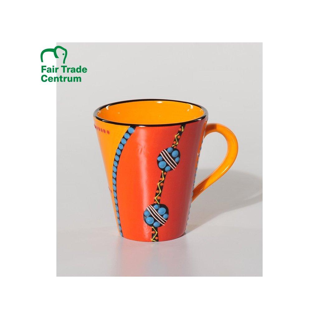 Fair trade ručně dělaný keramický hrnek s modrou girlandou z Jižní Afriky