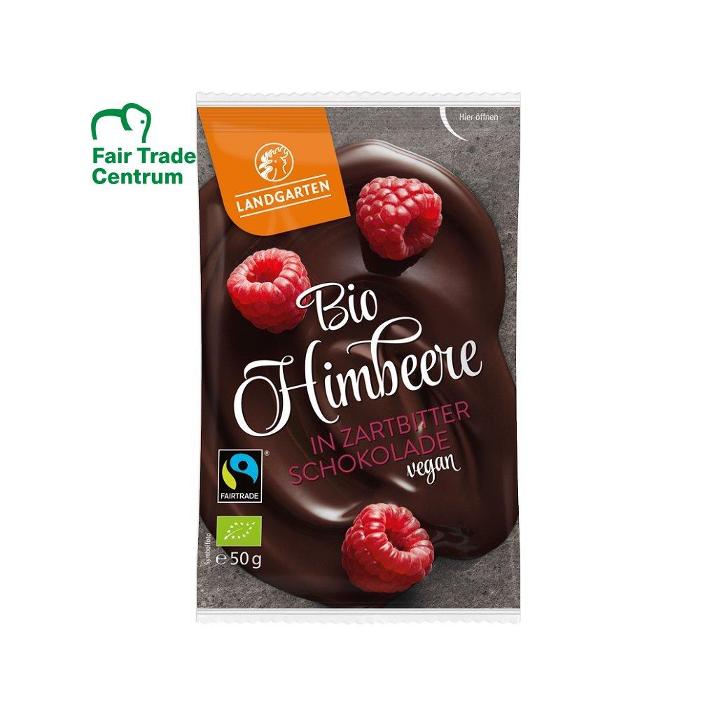 Fair trade bio sušené celé maliny v jemně hořké čokoládě