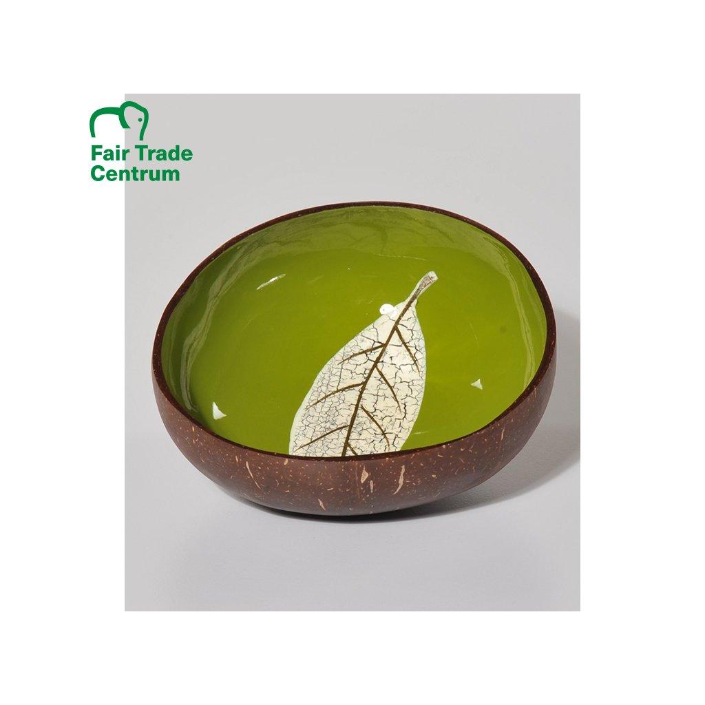 Fair trade zelená kokosová miska s listem z Vietnamu