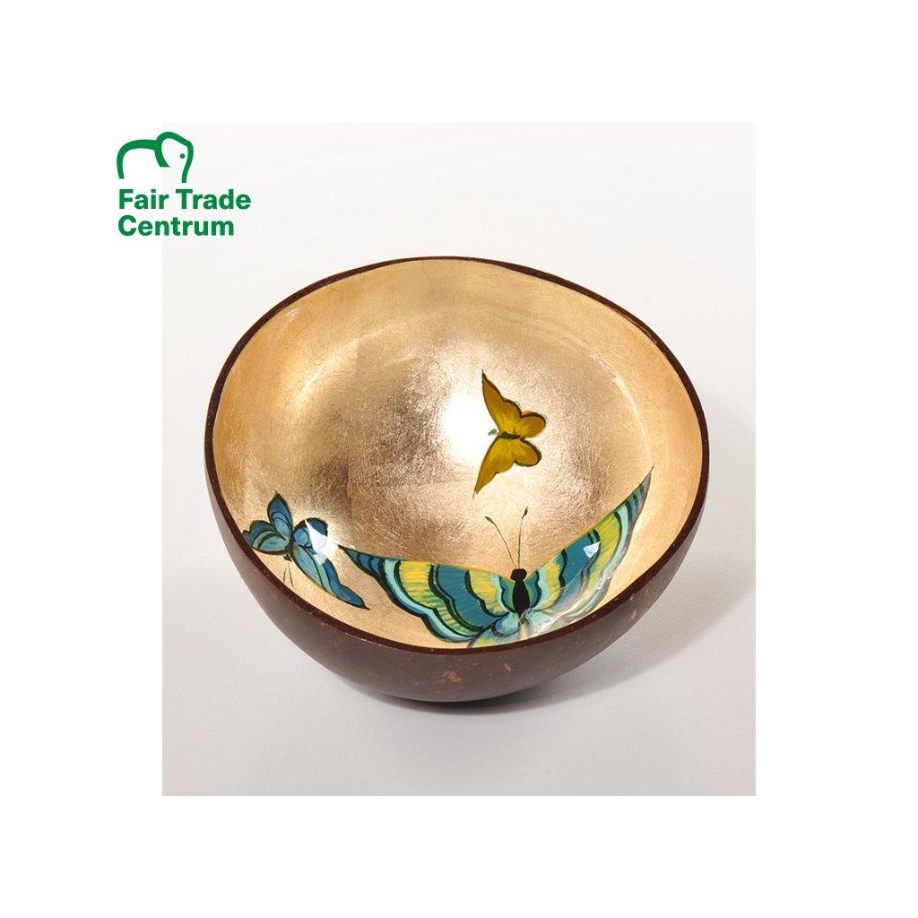 Fair trade zlatá kokosová miska s motýly z Vietnamu