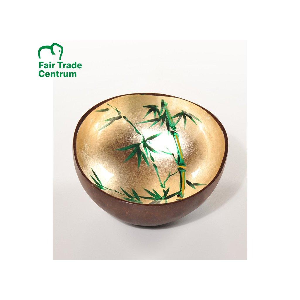 Fair trade zlatá kokosová miska s bambusem z Vietnamu