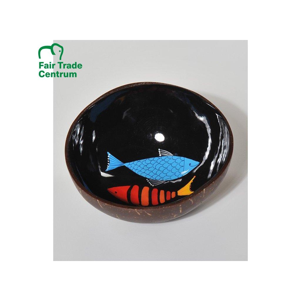 Fair trade černá kokosová miska s rybami z Vietnamu