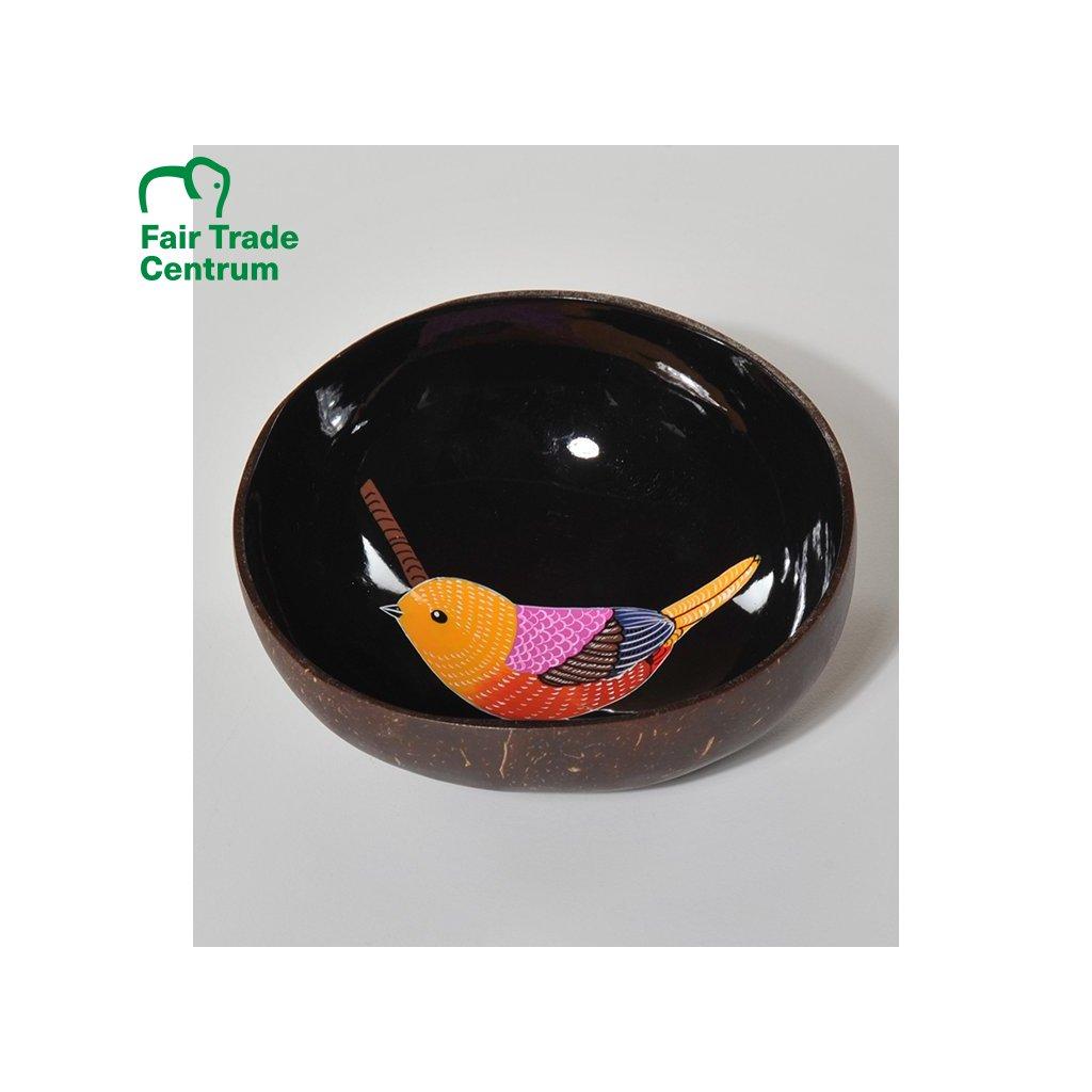 Fair trade černá kokosová miska s ptáčkem z Vietnamu