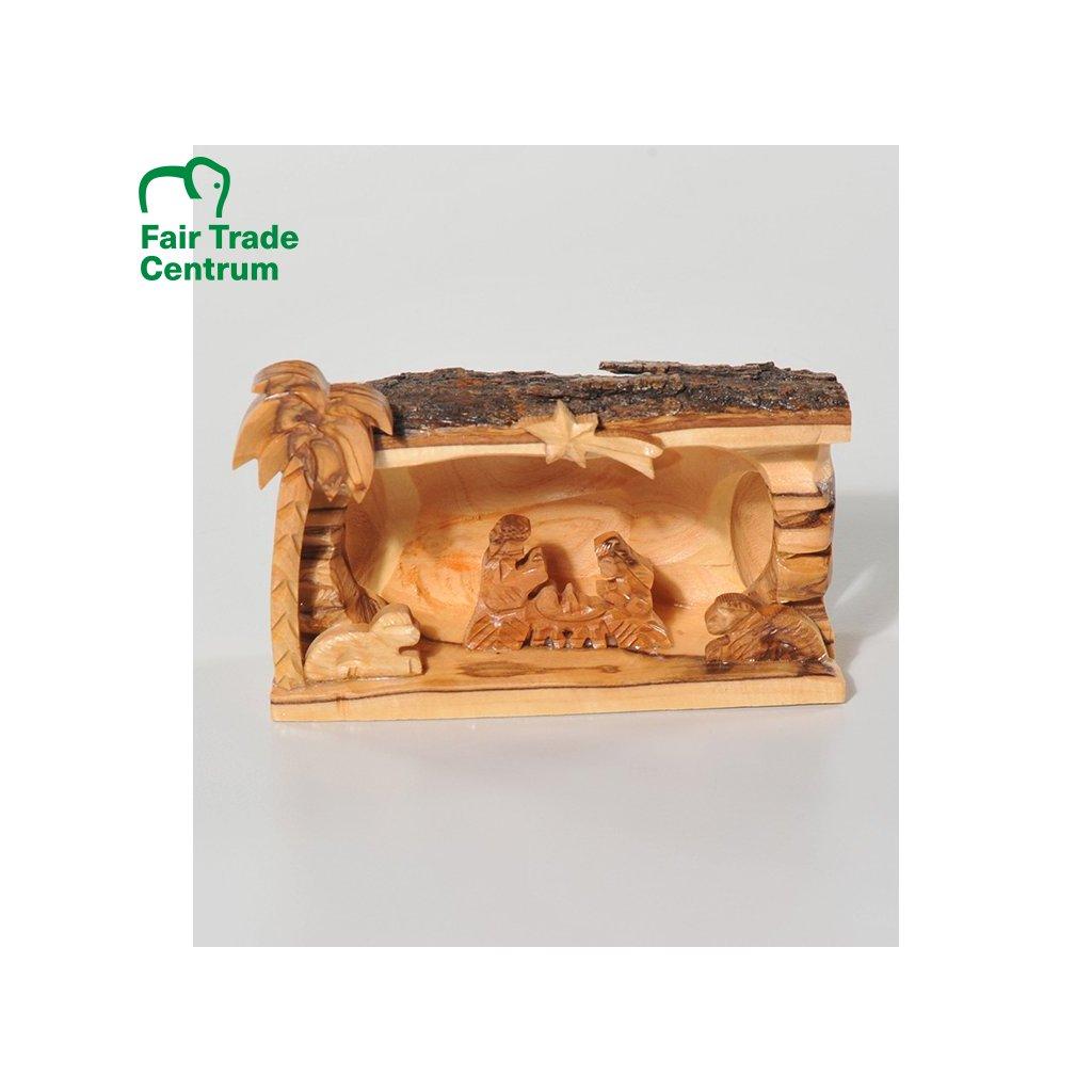 Fair trade betlém s palmou z olivového dřeva z Palestiny