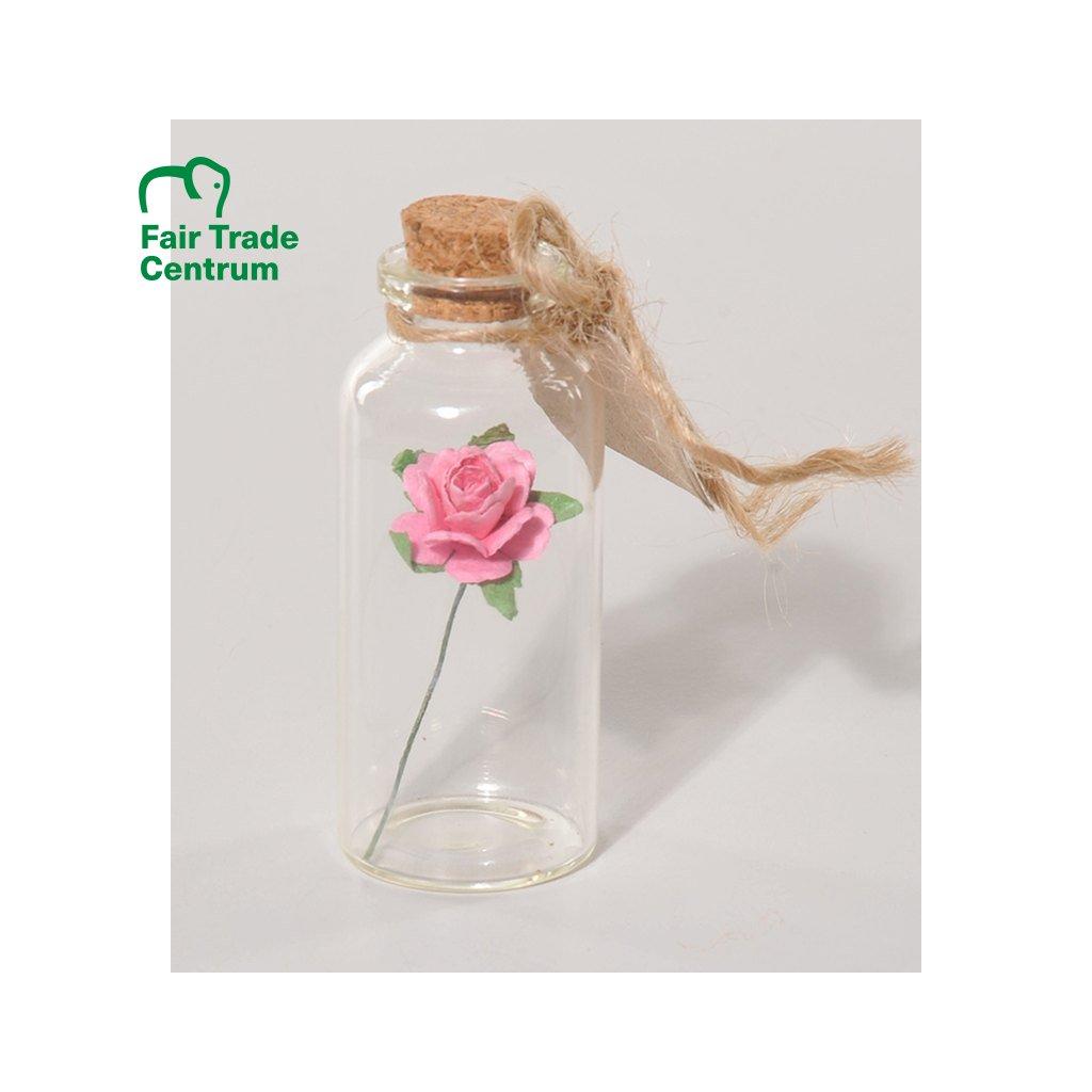 Fair trade růžová růžička v láhvi z Thajska