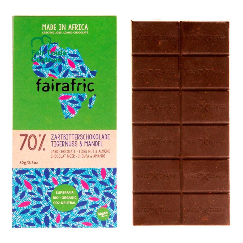 Fair trade bio hořká čokoláda Fairafric s mandlemi a tygřími ořechy, vyrobená v Ghaně, 80 g