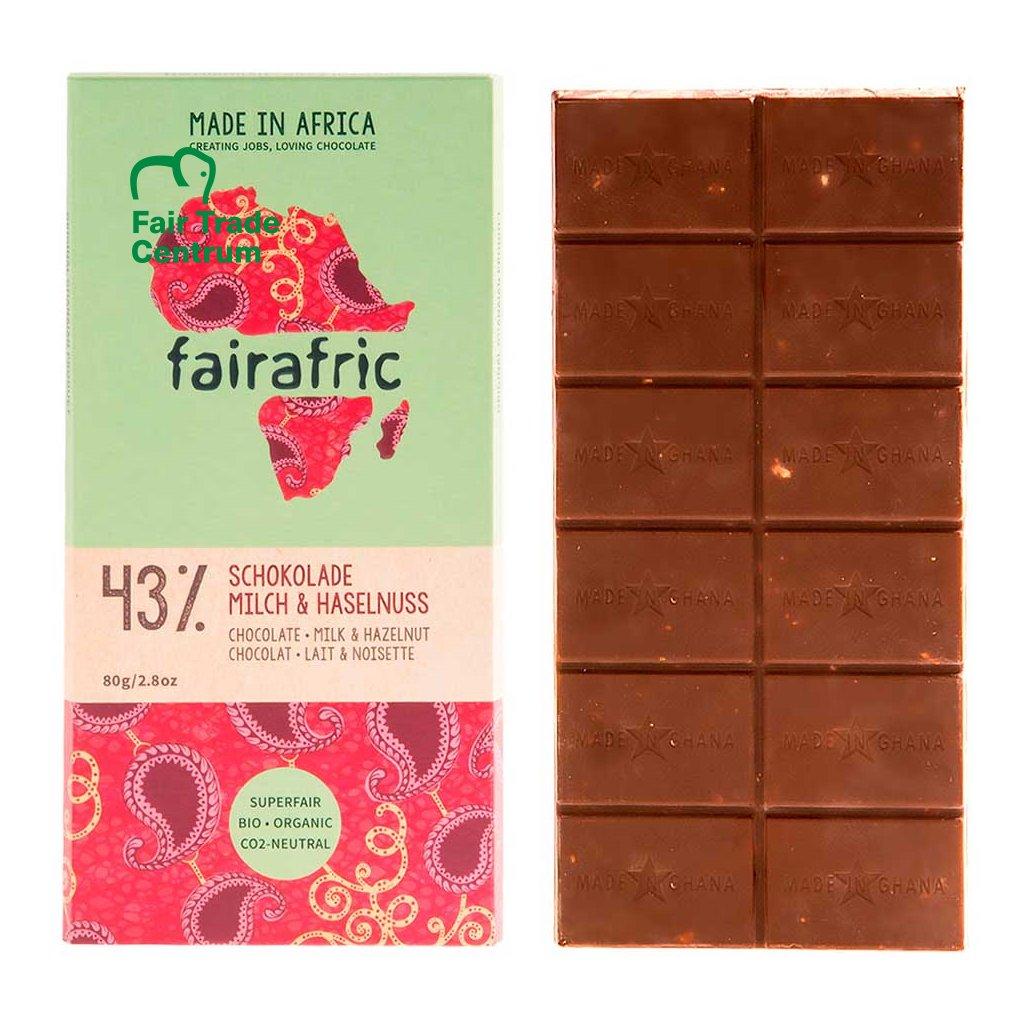 Fair trade bio mléčná čokoláda Fairafric s lískovými oříšky, vyrobená v Ghaně, 80 g