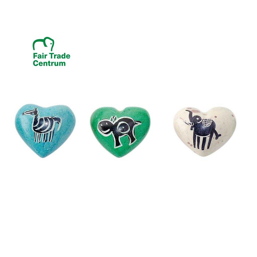 Fair trade srdíčko mini z mastku z Keni se zvířátky, různé barvy