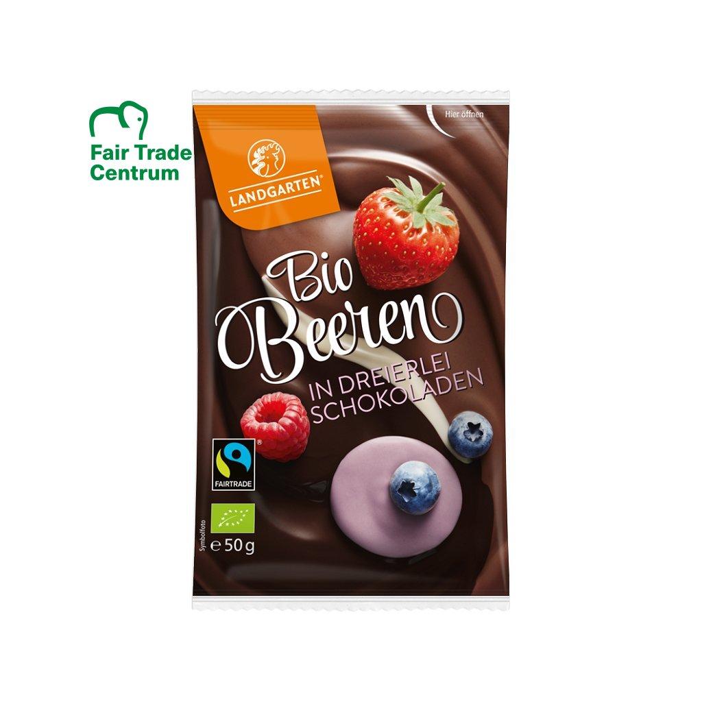 Fair trade různé bio lesní plody v hořké, mléčné a bílé čokoládě