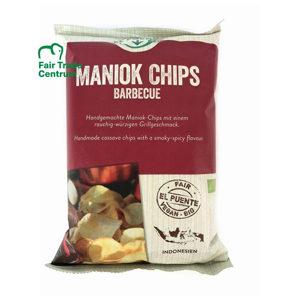 Fair trade bio maniokové chipsy s kořením barbecue, 30 g