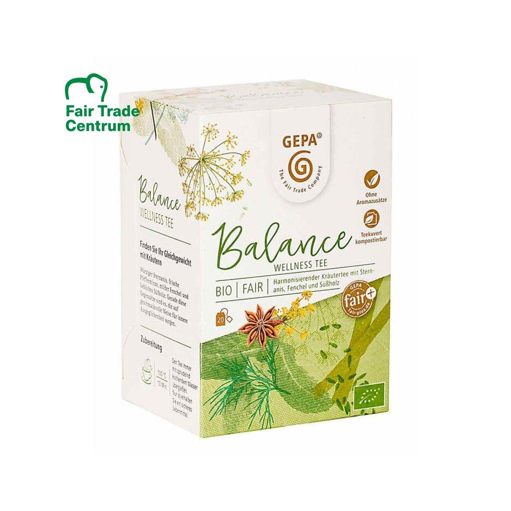 Fair trade bio bylinný čaj Wellness Balance Gepa, sáčkovaný