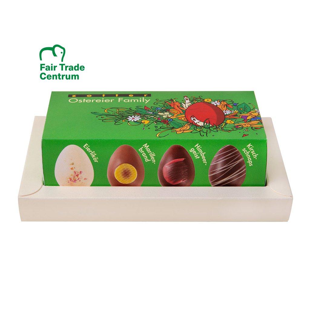 Fair trade bio velikonoční sada čokoládových vajíček Zotter Family