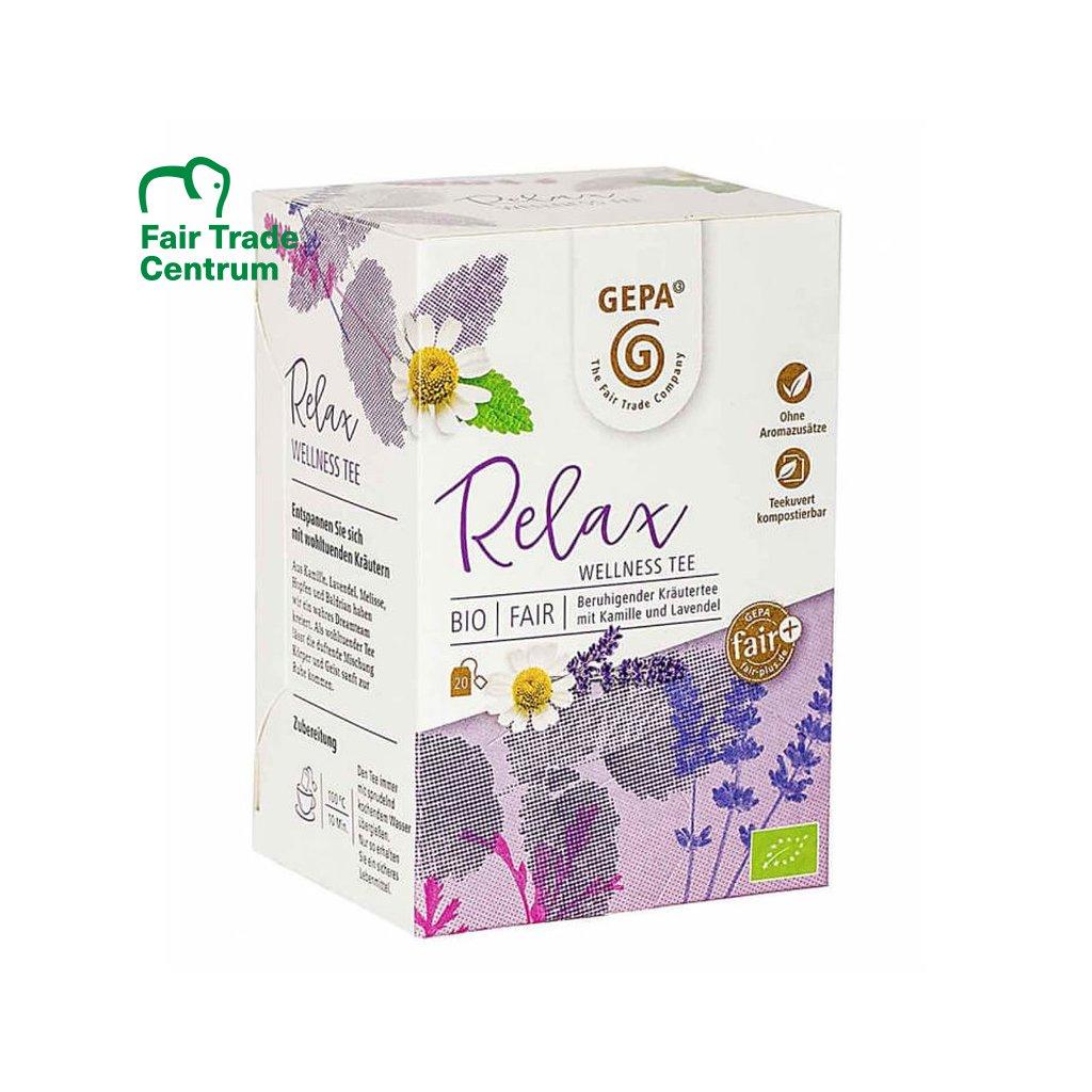 Fair trade bio bylinný čaj Wellness Relax Gepa, sáčkovaný