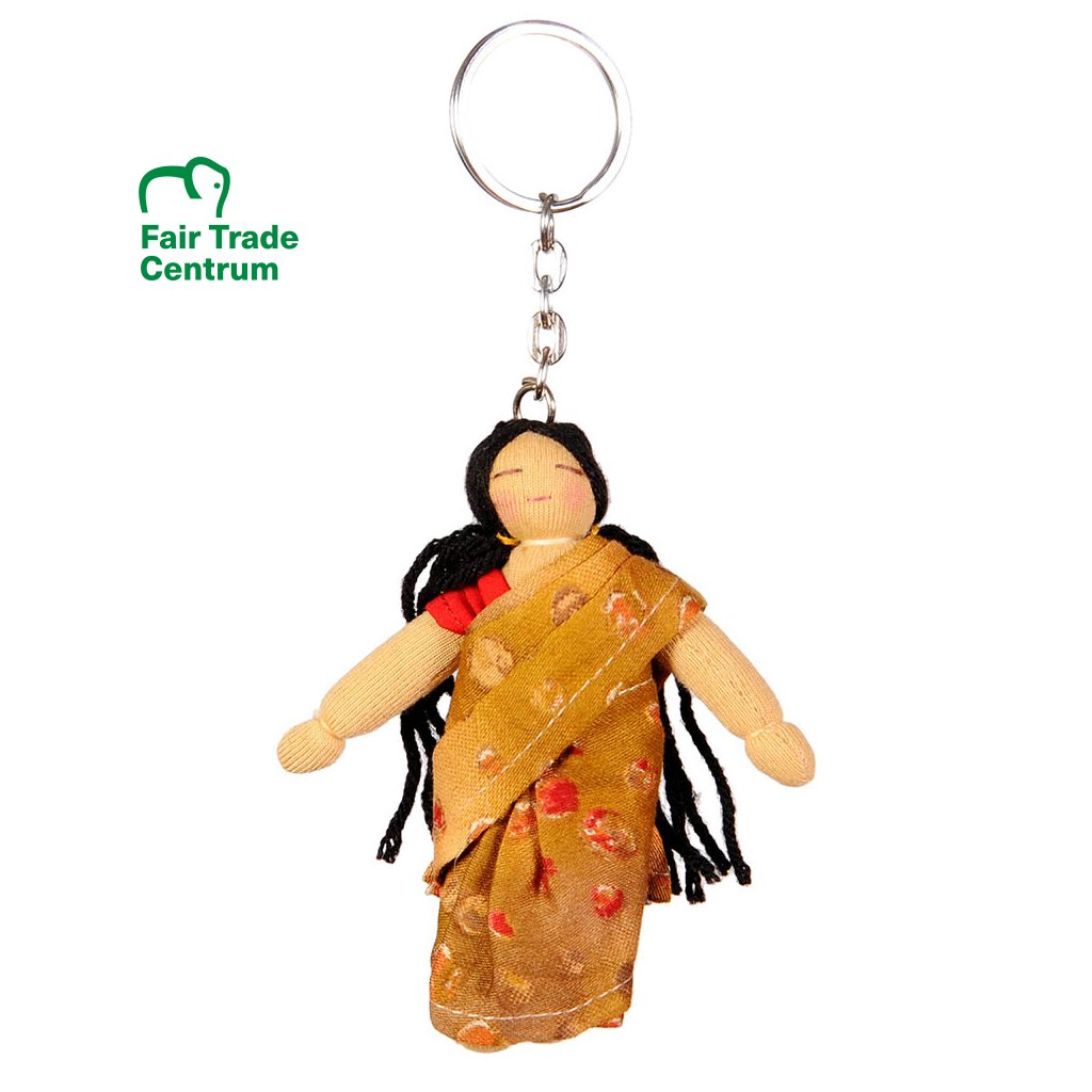 Fair trade Hadrová panenka Indická dívka v sárí dolls4tibet přívěsek