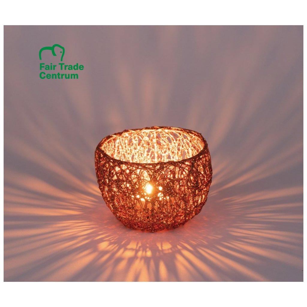 Fair trade svícen na čajovou svíčku Magic forest, měděná červená, 5 cm