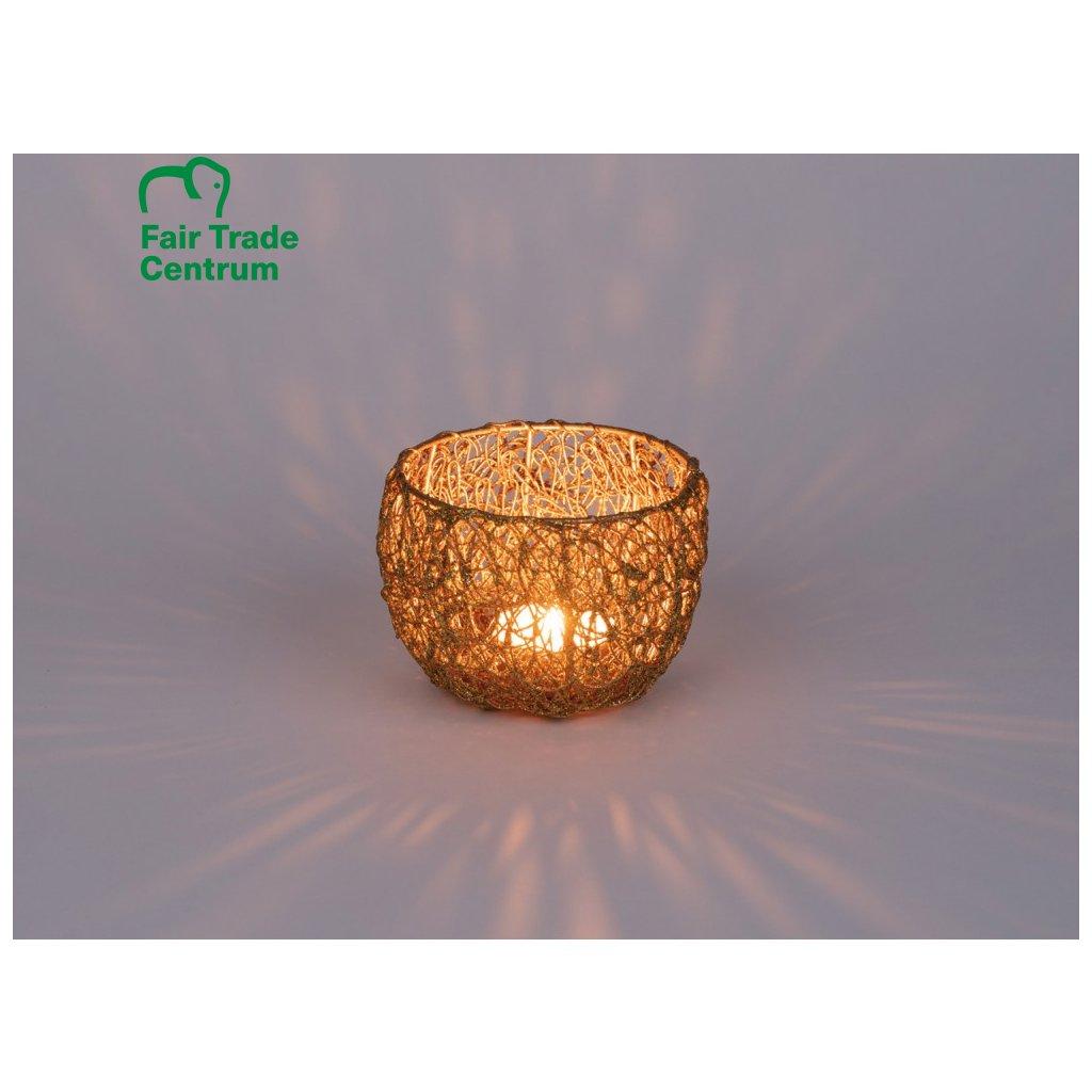 Fair trade svícen na čajovou svíčku Magic forest, zlatý, 5 cm