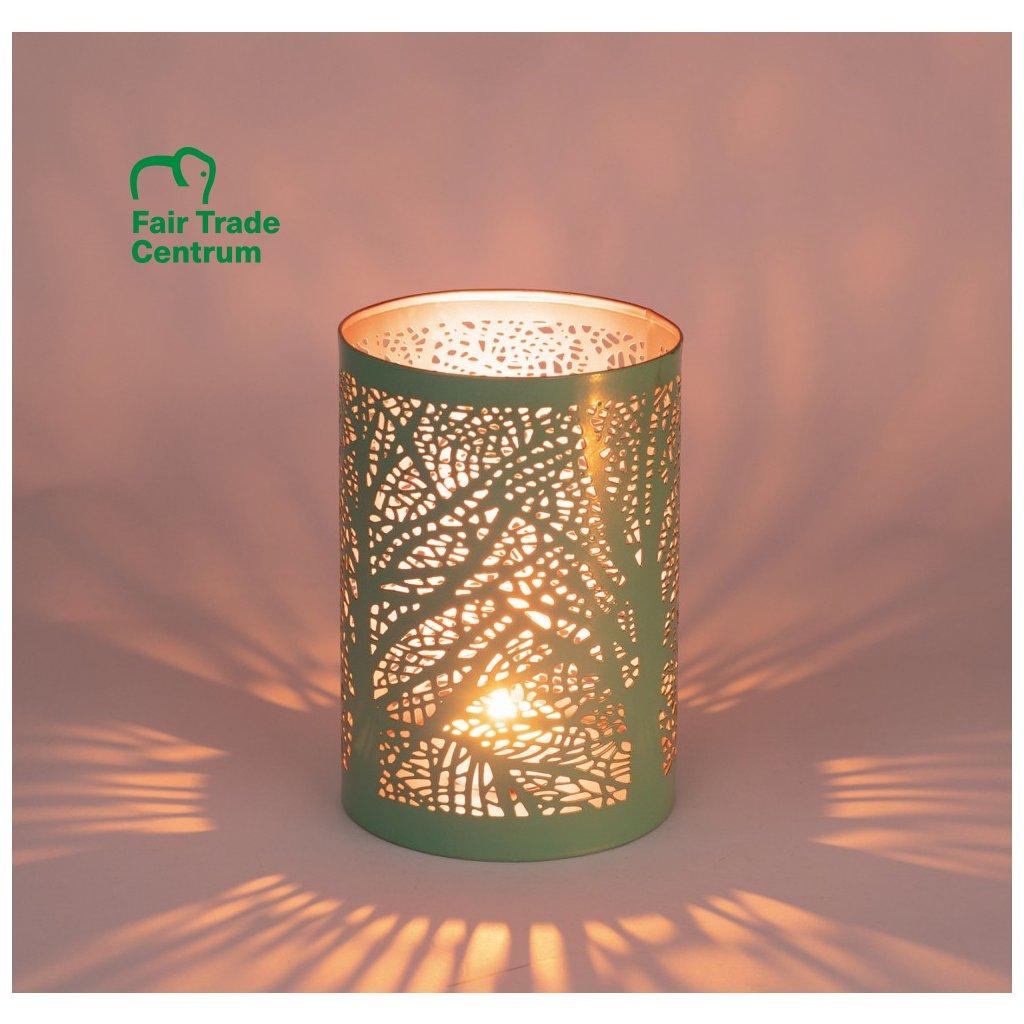 Fair trade svícen na čajovou svíčku Magic forest, tyrkysovo měděný, 15 cm