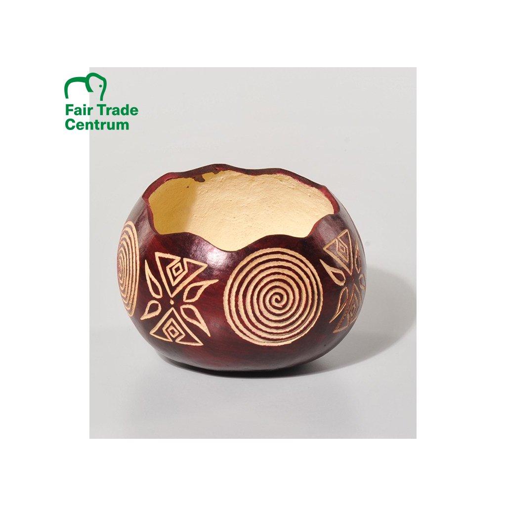 Fair trade zdobená miska z dýně z Keni, 14 cm