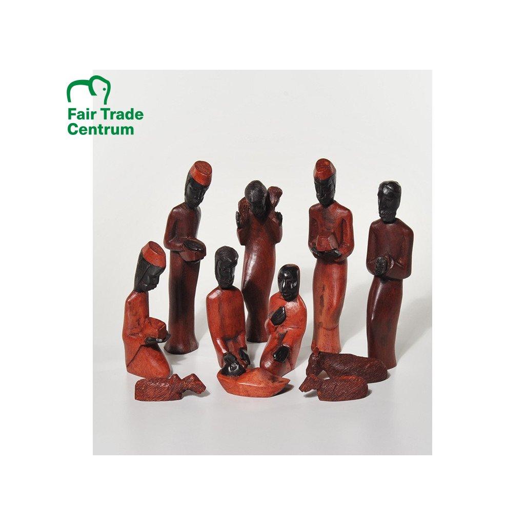 Fair trade betlém z ebenového dřeva z Tanzanie, 11 postav, 20 cm