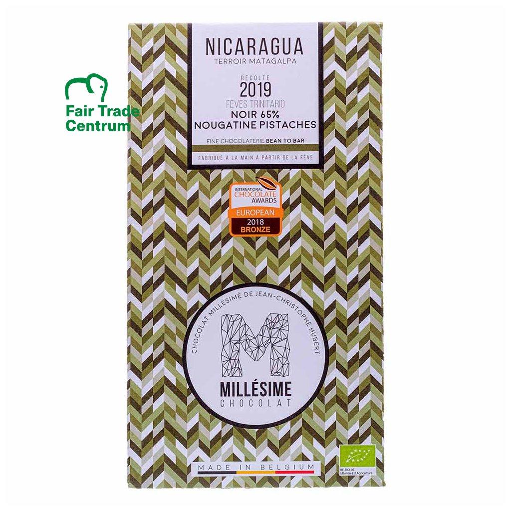Fair trade bio hořká čokoláda s pistáciemi Nikaragua 65 % Millésime Chocolat