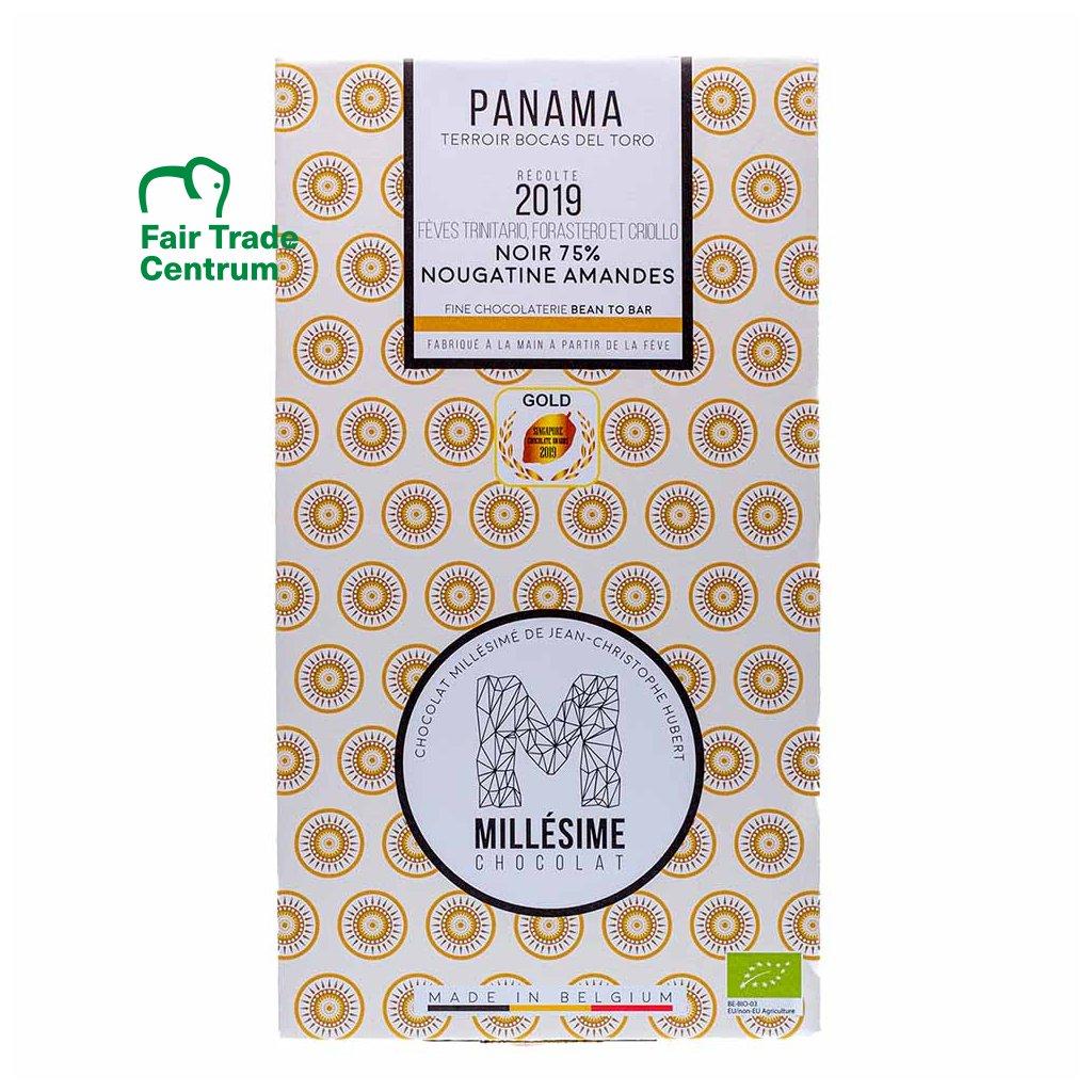 Fair trade bio hořká čokoláda s mandlemi Panama 75 % Millésime Chocolat