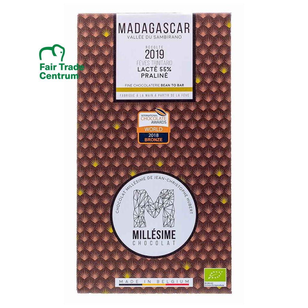Řemeslná fair trade bio mléčná čokoláda s pralinkovou náplní Madagaskar 55 %, 70 g