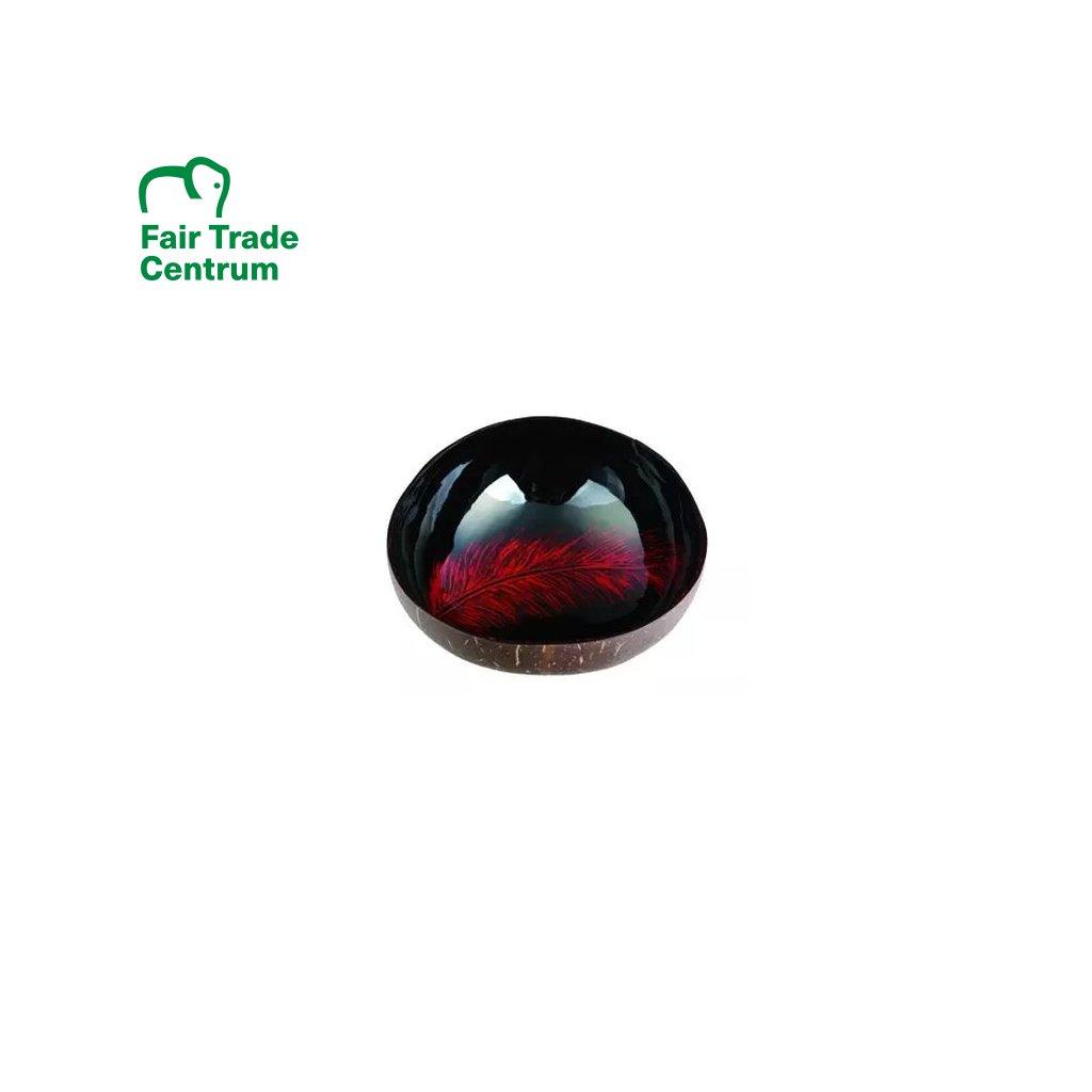 Fair trade kokosová miska s červeným perem z Vietnamu, 13 cm