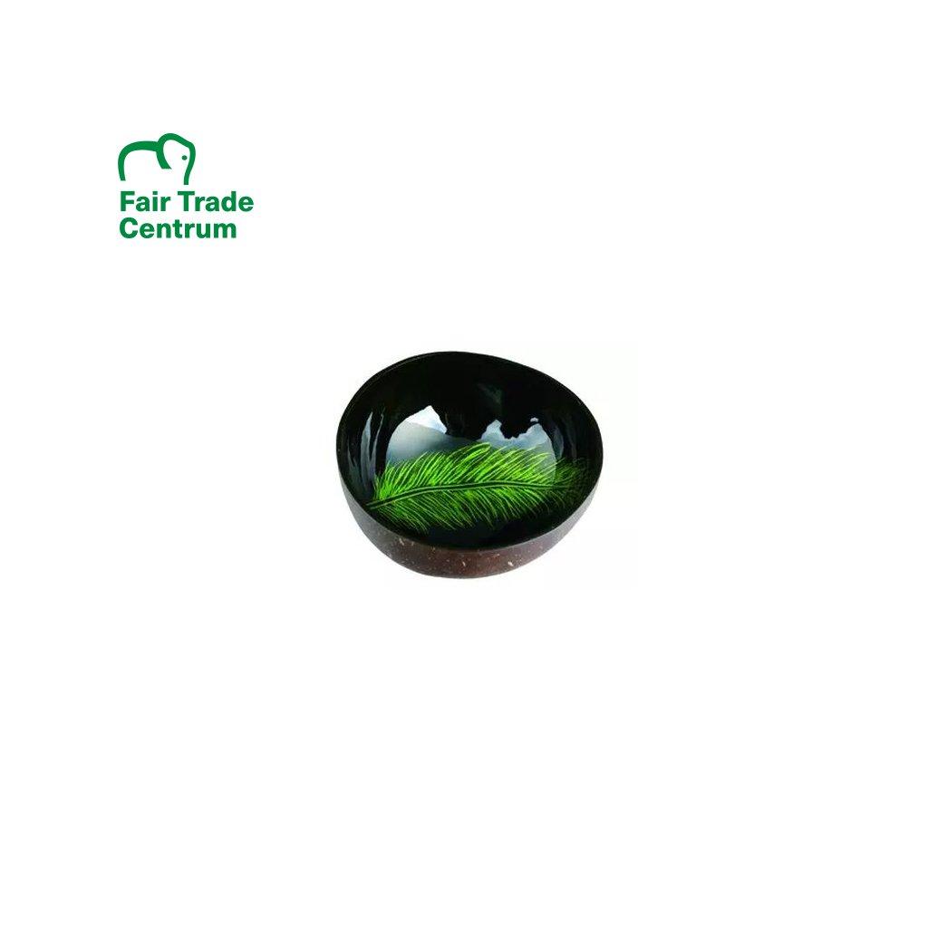 Fair trade kokosová miska se zeleným perem z Vietnamu, 13 cm