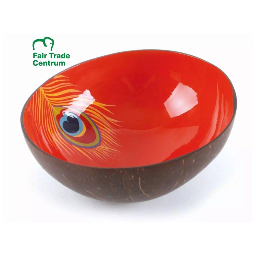Fair trade červená kokosová miska paví pírko, 500 ml